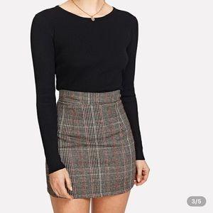 plaid zipped skirt